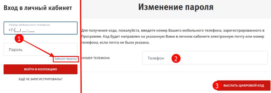 как восстановить пароль от личного кабинета ВТБ Коллекция